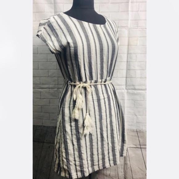 Love Riche Dresses & Skirts - Love Riche Gray Cotton Stripes Tie Waist Dress